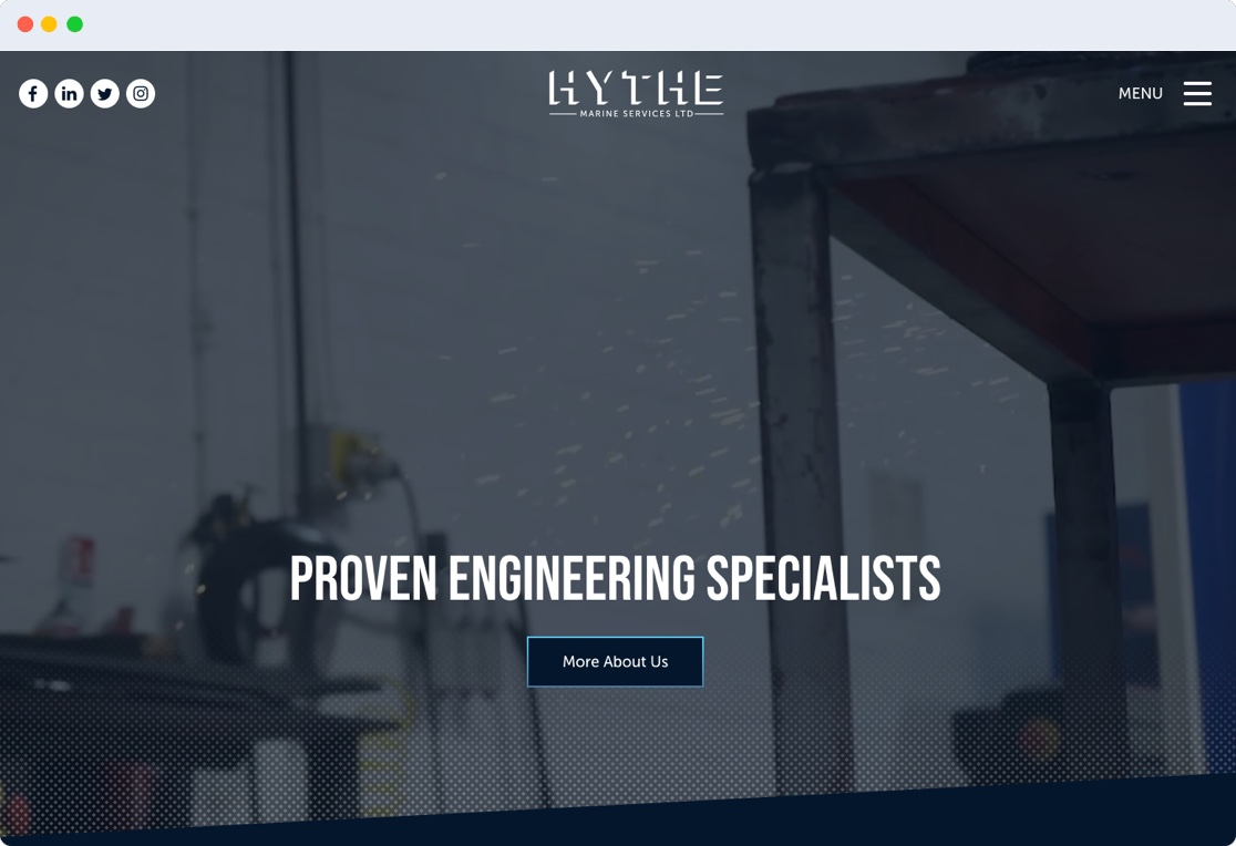 Hythe Marine Services Ltd. website screenshot
